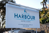 Hotel sign outside Salcombe Harbour Hotel, Salcombe, Devon