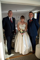 bride and two brothers waiting to leave for ceremony at Salcombe Harbour Hotel, Salcombe, Devon