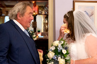 Bride and her father seeing each other for first time at Lavender House hotel, Ashburton, Devon