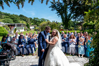 View of guests with Bride and groom during ceremony at Lavender House hotel, Ashburton, Devon