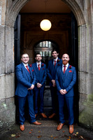 Groom and Groomsmen outside St Eustatius Church Tavistock Devon