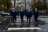 Groom and Groomsmen on zebra crossing outside Bedford Hotel, Tavistock, Devon