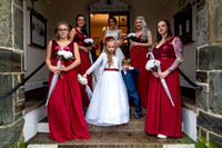 Bride and bridal party on steps outside Bedford Hotel, Tavistock, Devon